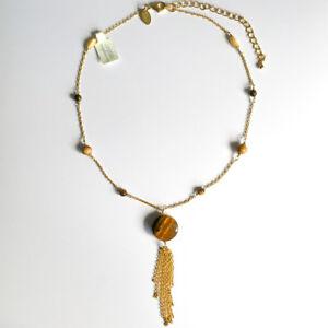 Womens Ladies Tiger Eye Pendant Girls Beads Glittering Chain Necklace Jewellery