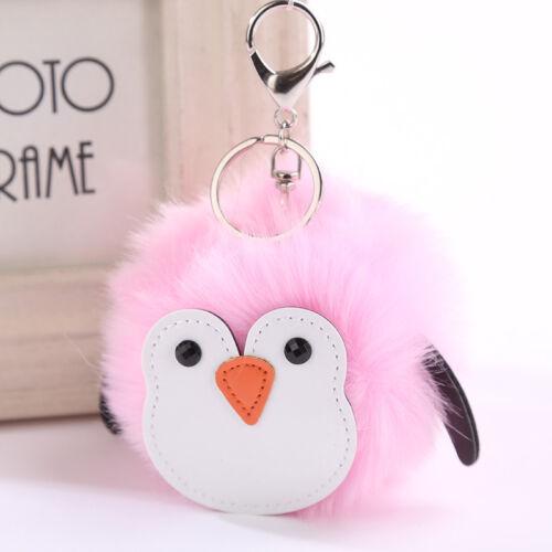 Lapin Fourrure Porte-clés HandBag Pingouin Chat Ballon Porte-clés Artificiel
