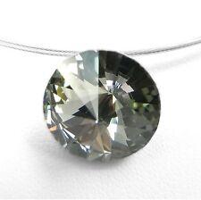 NEU Edelstahl COLLIER 14mm SWAROVSKI STEIN black diamond/schwarz-grau HALSKETTE