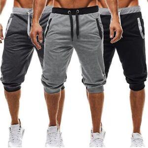 f004e7e89f3588 Men 3/4 Knee Length Casual Jogger Sport Shorts Baggy Gym Harem Pants ...