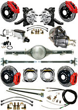 """NEW 2.5"""" DROP WILWOOD BRAKE & CURRIE REAR END SET,POSI GEAR,71-87 C10,C15,DR,RED"""
