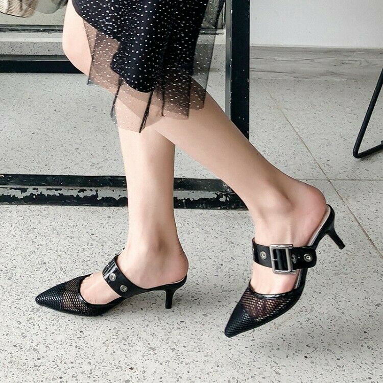 donna Slim Med Heels Slides Sandals Slip  On Pointed Toes Casual Mules scarpe Sz  prima i clienti