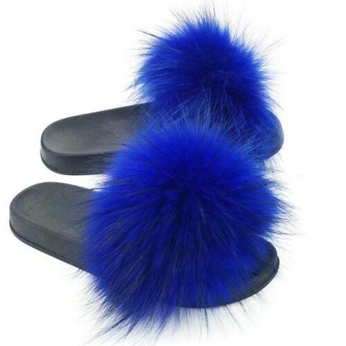 UK Fashion Womens Slipper Slip On Sliders Fluffy Fur Slippers Flip Flop Sandals