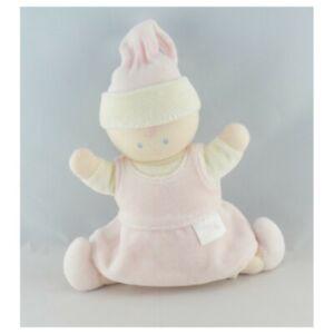 Doudou-Poupee-bebe-lutin-robe-rose-hochet-Corolle-Poupee-Lutin-Classique