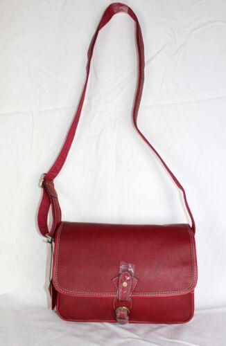 KATANA Sac besace en cuir réf 32588 rouge, noir et marron