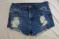 "Womens 35"" Zipper Fly Wrangler Cut Off Denim Shorts Jeans Distressed Boyfriend"