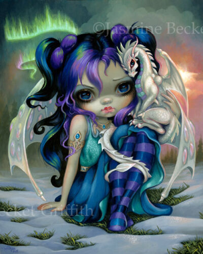 Jasmine Becket-Griffith art BIG print fairy ice dragon SIGNED Frost Dragonling