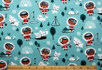 Flannel Eskimo Girl & Animal Friends On Teal Blue 100% Cottonnew8 Yard Bolt