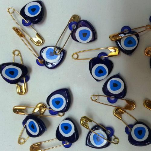 10 Nadel Kindermädchen Golden Perle Herz gegen Das Böse Auge DIY Dekor Fest