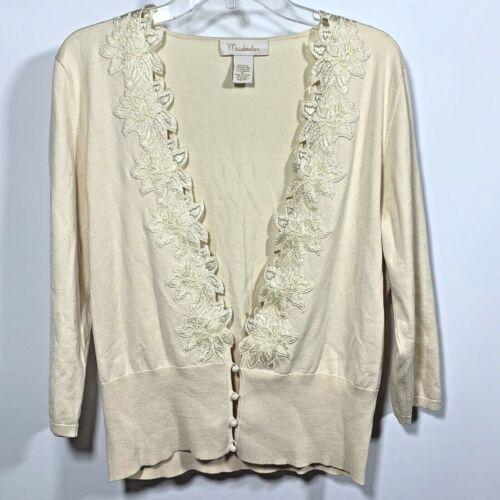 Mainbocher  Womans Silk Blend Cardigan Sweater Wit