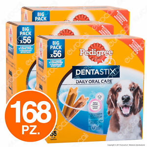 Pedigree-Dentastix-Medium-per-l-039-igiene-orale-del-cane-3-Confezioni-da-56-Stick