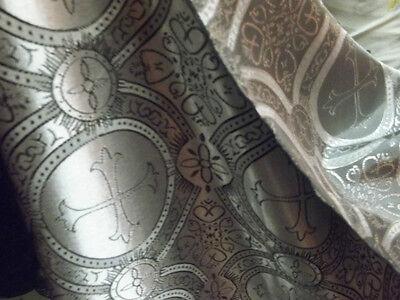 GEORGOUS silver grey cross acetate brocade fabric BTY