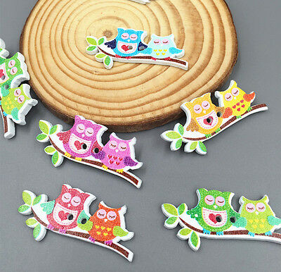 DIY One pair owls Wooden Buttons Fit Sewing Scrapbooking decoration Crafts 41mm