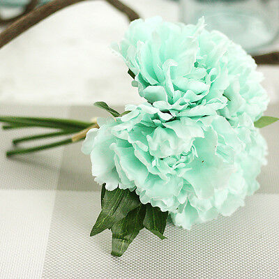 12 Bouquet 60 Stems Vintage Artificial Peony Silk Leaf Flower Wedding Home Decor