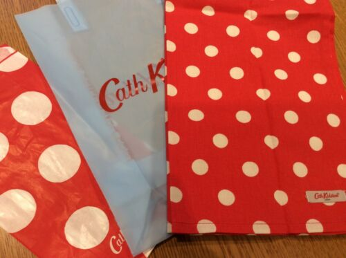 CATH KIDSTON ORIGINAL RED BUTTON SPOT TEA TOWEL  NEW WITH GIFT BAGS