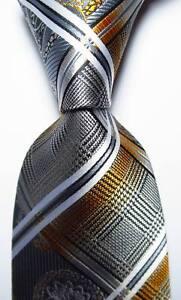 New-Classic-Checks-Gray-Gold-White-Black-JACQUARD-WOVEN-Silk-Men-039-s-Tie-Necktie