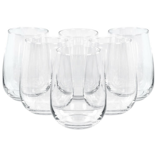 Set of 6 Medium Tulip Shaped Stemless Clear Wine Water Drinking Glass 17 Oz