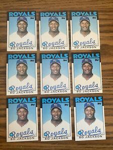 (9) Bo Jackson 1986 Topps Traded Rookie Cards Kansas City Royals