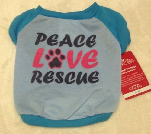 """Blue NWT /""""PEACE LOVE RESCUE/"""" Dog Shirt Luv-a-Pet XS or S Adopt Rescued"""