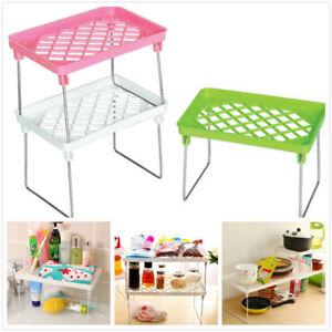 Folding-Storage-Rack-Organizer-Holder-Shelf-Stand-Desk-Home-Kitchen-Bathroom-New