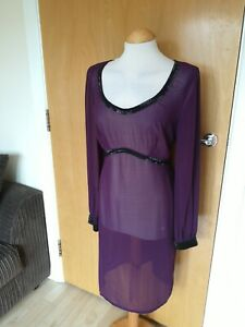 Ladies-PEPPERBERRY-Dress-Size-12-RC-Plum-Sheer-Beaded-Party-Evening-Wedding