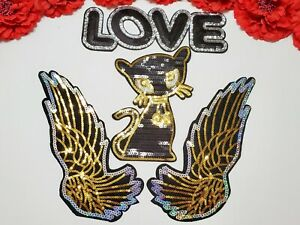 Rainbow Heart patch Fashion Iron on patches 4pc//set Sequin Flower patches