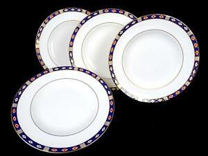 ROYAL-CROWN-DERBY-ENGLAND-KEDLESTON-IMARI-STYLE-4-PIECE-DINNER-PLATES-1986