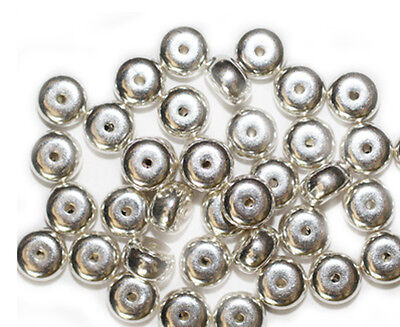 6mm Round Bright Silvertone Metalized Metallic Beads