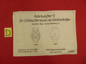 Sonstige Alte Berufe Schema Rohrbelüfter 1/2 Für Schlauchbrausen An Gasbadeöfen Zugellasen Am 15.2.19