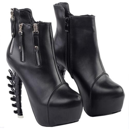 Details about  /Punk Black Zip Stud High-top Platform Bone Heels Ankle Boots Size 4//5//6//7//8//9//10