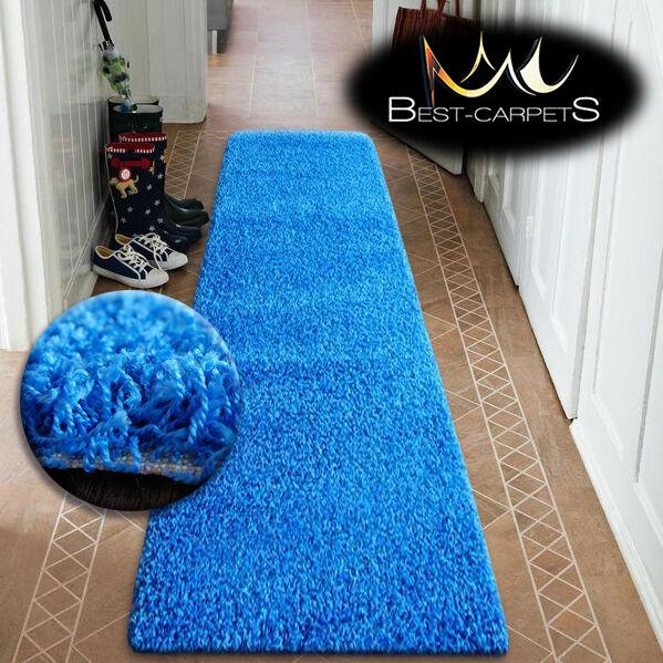 Modern hall coureurs soft shaggy shaggy soft tapis 5cm bleu largeur 50-200cm long tapis c10d8c