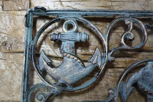 2 Cast Iron NAUTICAL ANCHOR Brackets Garden Braces Shelf Bracket PIRATES SHIP