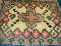Completed Latch Hook Rug Geometric Southwest Finished 20 X 27 Rose Tan