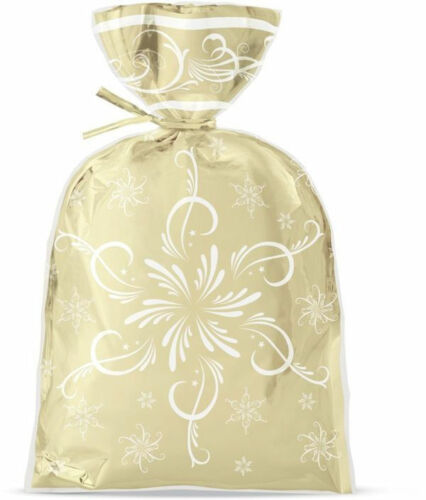 NEW Christmas Gold Foil Treat Bags 8ct from Wilton 5083