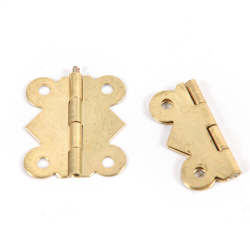 10x Brass Color Mini Butterfly Hinges to Cabinet Drawer Jewelry Box DIY Repair ^