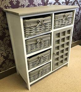 grey white chest drawers storage cabinet wicker baskets cupboard vintage bedroom ebay. Black Bedroom Furniture Sets. Home Design Ideas