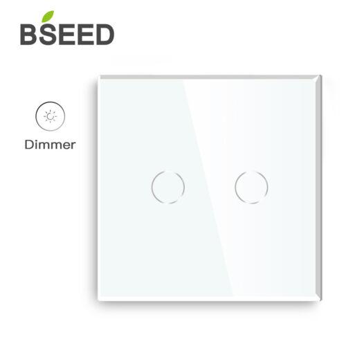 BSEED Touch Screen Dimmerable Lichtschalter Wandsteckdosen Glas Dimmer Schalter