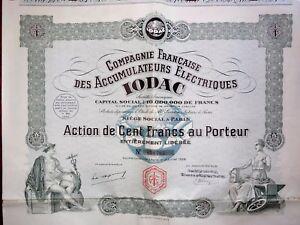 Compagnie Française Des Accumulateurs Électriques Iodac Action 100 Francs 1928 5qyx0psh-07221355-467318747
