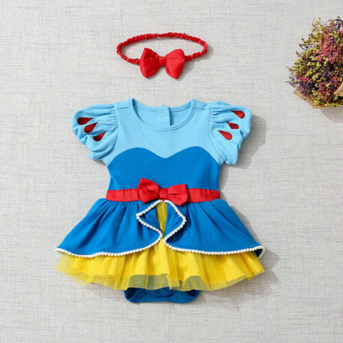 2PCS Baby Girl Snow White Princess Romper Tutu Dress Headband Outfit Costume ZG9