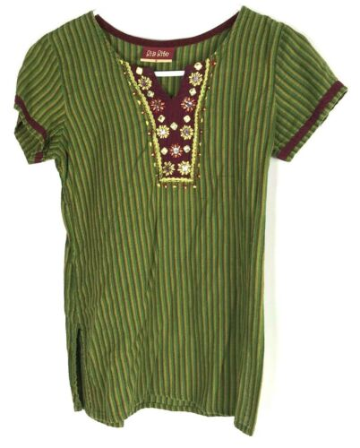Women's Ria Ritu Green Gold Burgundy Stripe Sequin Indian Short Sleeve Blouse