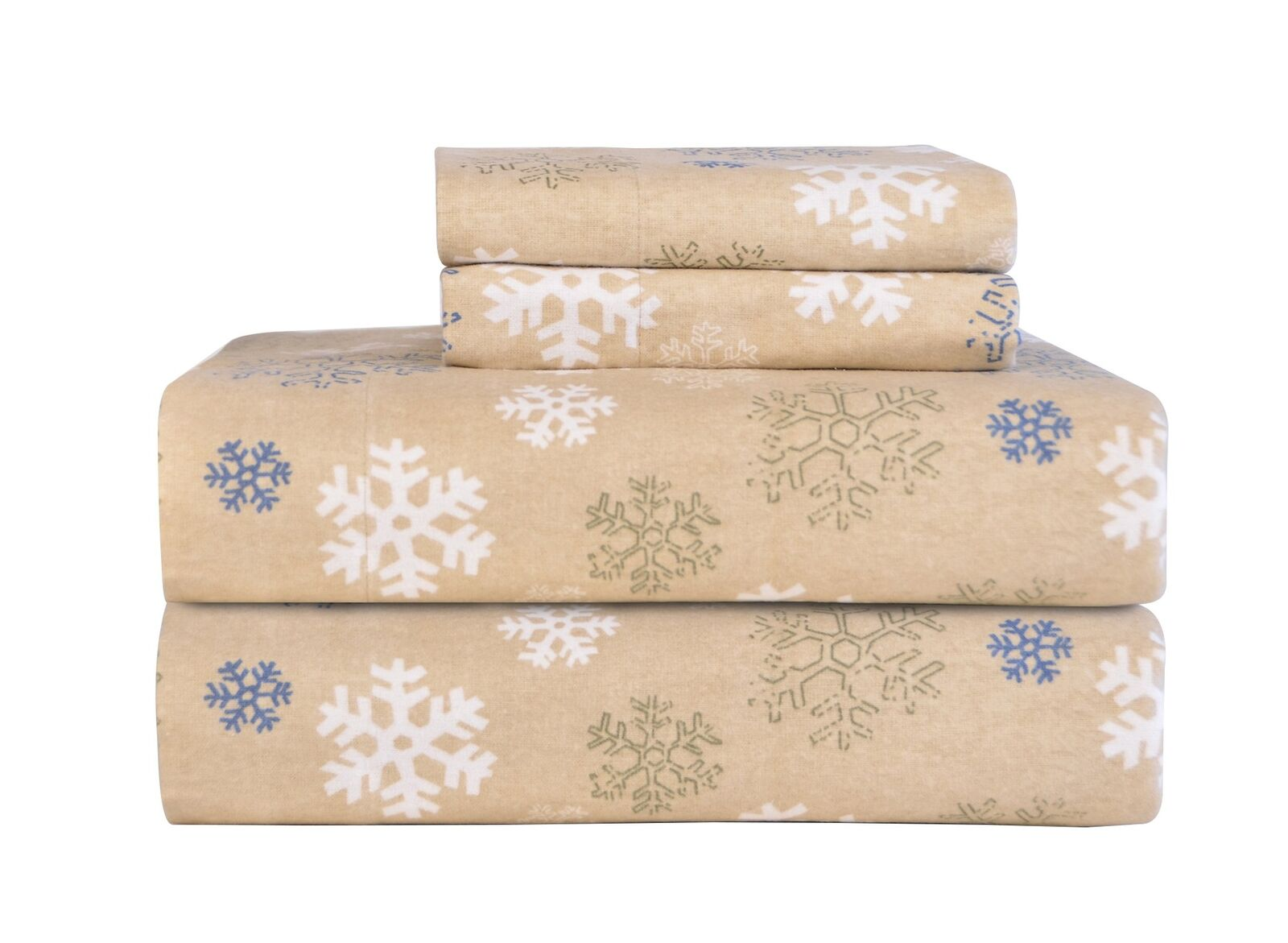 Pointehaven Heavy Weight Printed Flannel Sheet Set, Twin, Snow Flakes Oatmeal