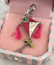NWT AUTH. Juicy Couture Kite Charm 2009 YJRU3610 Pink Tassels Silver In Pink Box