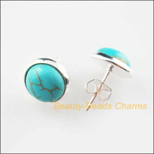 10Pcs Silver Plated Round Turquoise Wire Earrings Hooks Findings 12x16.5mm