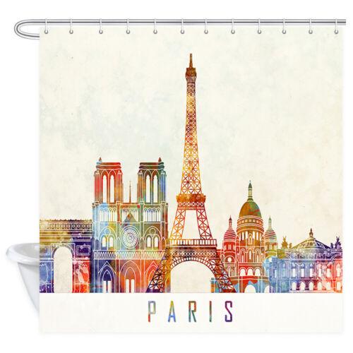 Paris City Shower Curtains Colorful Eiffel Tower Bathroom Accessories Decor Sets