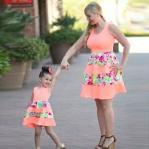 Mother & Daughter Matching Dresses Womens Girls Mini Dress Summer Family Clothes