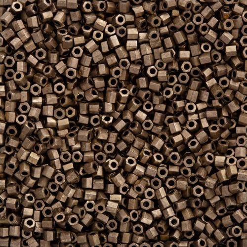 Q11//8 Miyuki Hex Cut Size 8//0 Matte Metallic Dark Bronze Seed Beads 12g
