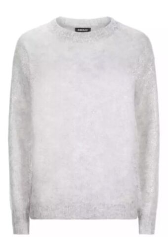 S 255 Silver Boho Dkny Strik Pullover Sweater Foil Mohair Sz Chic Metallic 1Bvwnqp