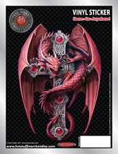 Gothic Dragon Guardian and Cross Car Sticker - Auto Decal - Anne Stokes