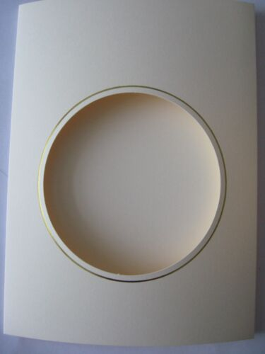 """Circle Aperture card 3 fold 8/"""" x 6/""""//150x205mm cream with gold borders Pack OF 20"""