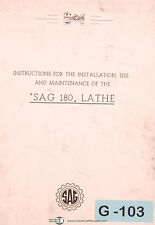 Graziano SAG 180, Lathe Instruct for Installation Use & Maintenance Manual 1963